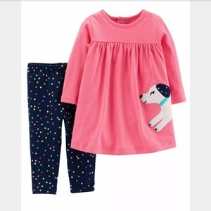 Carter's 2-Piece Dog Dress And Polka Dot Leggings